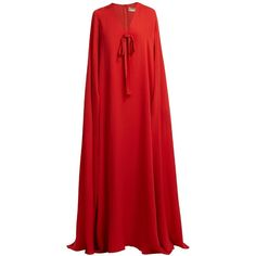 Elie Saab Cape-sleeve silk-crepe gown (19,440 SAR) ❤ liked on Polyvore featuring dresses, gowns, coral, red sleeve dress, red evening gowns, elie saab evening dresses, red ball gown and slit sleeve dress