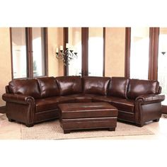 Isabelle Top Grain Leather Sectional and Ottoman