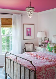 Adorable use of a strong color your teen may want in their bedroom~paint the ceiling instead of the walls.  Another great idea from Nell Hill's blog.