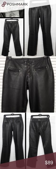 """🔥Vtg/Rare🔥Leather Moto Party Pants 100% Genuine Leather Boot Cut Classic Rise  Motorcycle/Party Pants Size 1(True Small 2/3 Fit ) * Extremely RARE by Fly Girls * I bought these at a boutique in Tampa, Florida in 97'  - Excellent Like New Condition! No Flaws  - Versitale for Many Occasions  - 5 Button Fly Girl Logo buttons - 2 front pockets - Fly Girl Logo in back - Great thick Quality with a Nice Stretch - Lined to only the knee - Measurements laying flat across Waist 14"""" Hips 16"""" Length…"""