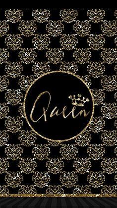Pretty queen wallpaper gold black