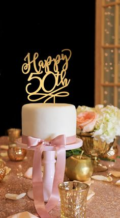 50th Anniversary Cake Topper - 50th Birthday Cake Topper - Happy 50th Cake Topper - Gold Cake Topper by ThePinkOwlGifts on Etsy https://www.etsy.com/listing/252277982/50th-anniversary-cake-topper-50th