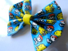 8bit Ash Ketchum and Pikachu Pokemon Hair Bow or bow by Stitch3d, $6.00