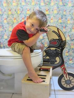 Potty Training NEW PRODUCT - Make Potty Training Fun with Potty Rider. Patented. Made in the USA. Wood Construction. Toilet Training Wheels.