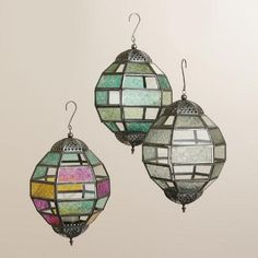 One of my favorite discoveries at WorldMarket.com: Small Multicolored Glass Hanging Ball Raya Lantern