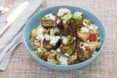 Quinoa Tabbouleh & Fairy Tale Eggplants with Toasted Pine Nuts & Yogurt Sauce