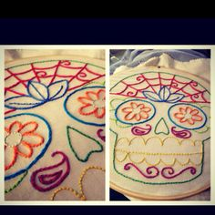 Sugar skull embroidery :]