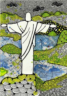 Rio de Janeiro Brazil - Luciana Pupo Art Catholic Art, Religious Art, Jesus Drawings, Brazil Art, Linear Art, Chinese Drawings, Jesus Art, Jesus Pictures, Sacred Art