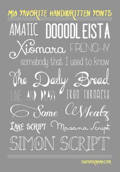 My Favorite Handwritten Fonts // thepapermama.com