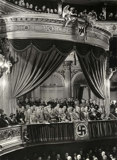 An excellent print from 1936 showing Hitler at the Berlin State Opera on the occasion of commemorating the WW1 German fallen.On the first row, from l to r, Goebbels, Hess, Goering and the octogenarian Field Marshal Mackensen. On the left of Hitler is Field Marshal Blomberg and C-in-C of the Army  Werner von Fritsch. Himmler is on the third row to the right, partially obscured.
