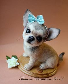 Needle Felted Pup with Bow......