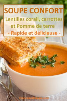 -SOUPE CONFORT- Cette soupe est parfaite pour les soirées cozy et régale toute la famille ! Soupe aux lentilles corails, carottes et pomme de terre.