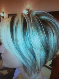 Blonde angled bob with chunk brown lowlights. I Like this. Maybe I could do the Brown and reddish color.