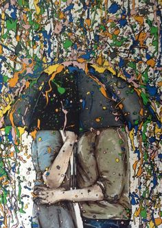 couple under umbrella, drip art, mch artwork Drip Art, Clever, Artsy, Couple, Artwork, Gifts, Painting, Color, Work Of Art