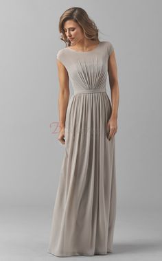Silver A-line Chiffon Long Bridesmaid Dresses With Sleeves (BD1460)