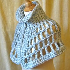 Sky Blue Chunky Crochet Capelet - Luxurious Pastel Wool - Cloud 9 Cape. #crochet #cape