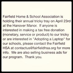 Tricky tray donations for Fairfield HSA #trickytray #fairfieldhsa