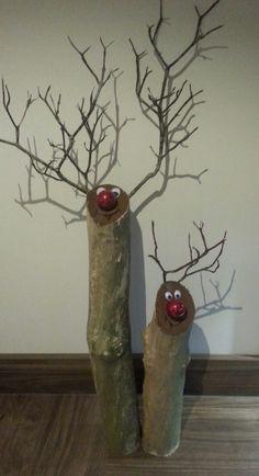 Rustic log reindeer medium size white birch deer by for White birch log crafts