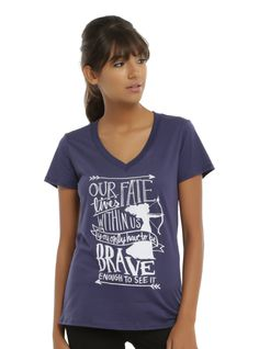 """Are you brave enough to change your fate? You're at least brave enough to wear this tee from Disney's <i>Brave</i>. The navy shirt features a silhouette of Merida and her bow and arrow and text design that reads """"Our Fate Lives Within Us, You Only Have To Be Brave Enough To See It.""""<div><ul><li style=""""LIST-STYLE-POSITION: outside !important; LIST-STYLE-TYPE: disc !important"""">50% cotton; 50% polyester</li>..."""