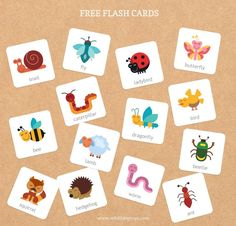 free spring time kids flash card activity