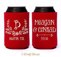 Rustic Flowered Laurel Leaf Wedding Monogram Initial // Custom Wedding Can Coolers Party Favors