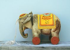 Vintage Fisher Price Elephant 145 Early Pull Toy by EarlyBirdTwo, $42.00
