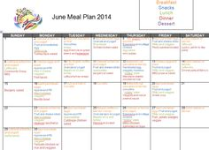meal plan for June 2014... includes 3 weekday meals + a.m. snack              fromcuptocup.blogspot.com