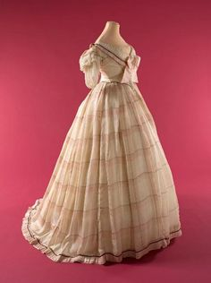 Two Piece Plaid Chiffon Evening Gown, 1862
