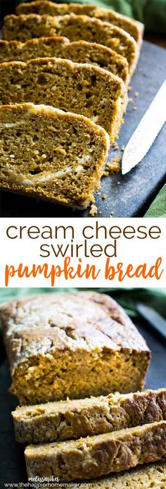Delicious moist pumpkin bread swirled with a cream cheese filling-the perfect bread for autumn-and it makes your house smell like fall while it's baking!