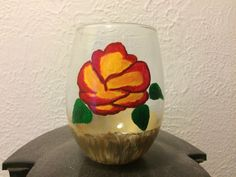 Rose painted wineglass