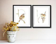two wrens art prints, 2 Carolina wrens prints, wrens watercolor prints, nursery decor, birds prints, 2 art prints set, wildlife prints, wren