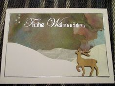 Handmade Christmas card with watercolour painting background
