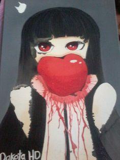 Trabajo tipo anime #Darks #Blood #Sangre #Terror #Ilustracion #Arte #Niña #Pinceles #Pedidos #Cuadro #Propia #Pinturas