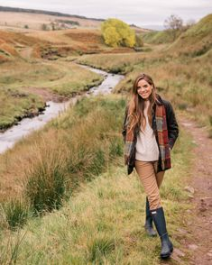 Julia Engel shares her daily look on Gal Meets Glam. Julia is wearing a Barbour Jacket, Demylee sweater, J.Crew pants, Hunter boots and more.