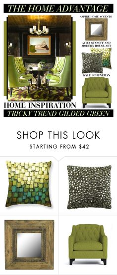 """""""The Home Advantage - Gilded Green"""" by latoyacl ❤ liked on Polyvore featuring interior, interiors, interior design, home, home decor, interior decorating, Aviva Stanoff and Aspire Home Accents"""