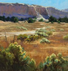 Sandstone, Chamisa, and Sun by Kim Lordier Pastel ~ 27 x 26