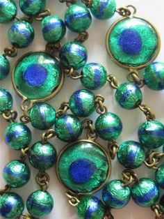 Estate RARE Vintage Art Deco 20s Bezel Set Peacock Eye Glass Bead Necklace | eBay
