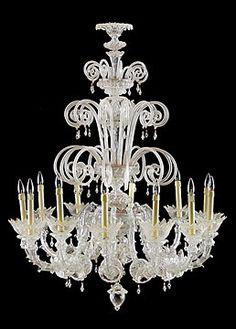 Pair of  Rare 1930s Style Twelve-light Handblown Glass Murano Chandelier