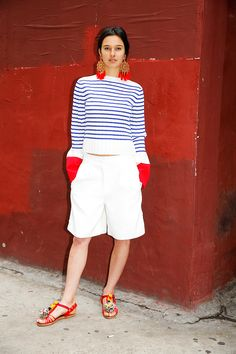 Love this bermuda-marin look so much! from Man Repeller