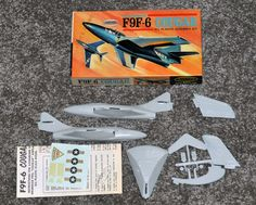 Mid 1950's Aurora U s Navy F9F 6 Cougar Kit No 293 39 | eBay Plastic Model Kits, Plastic Models, Scale Models, Aurora, 1950s, Navy, Hale Navy, Scale Model, Northern Lights