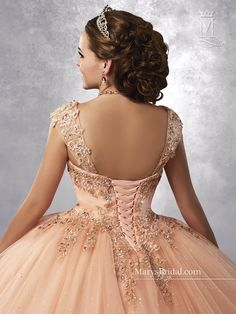 9032731e8433 Sparkling Tulle Quinceanera Dresses 2018 Mary s with Detachable Straps and  Basque Waist Peach Sweet 16 Dress Lace Up Back