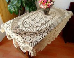 Make to Order ~ Gorgeous crochet pattern, 100% handmade table cover, hand crochet table topper, crocheted beige tablecloth for home decor