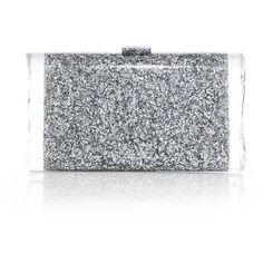 Edie Parker Lara Glittered Acrylic Clutch ($1,045) ❤ liked on Polyvore featuring bags, handbags, clutches, apparel & accessories, silver, evening purse, special occasion clutches, glitter handbags, clasp purse and lucite purse