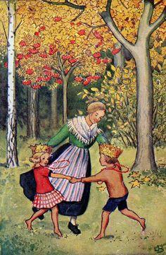 Swedish illustration, by Elsa Beskow Elsa Beskow, Art Folder, Children's Book Illustration, Gravure, Illustrations Posters, Vintage Art, Illustrators, Folk Art, Fairy Tales