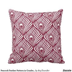 Peacock Feather Pattern in Cranberry and White Throw Pillow