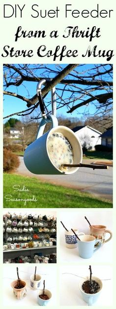 How to Make Homemade Bird Suet for a Suet Feeder in a Coffee Mug - DIY: Repurposed - Create a simple, effective suet bird feeder for your yard this winter by repurposing a thrift store - Outdoor Projects, Garden Projects, Craft Projects, Kids Garden Crafts, Project Ideas, Suet Bird Feeder, Bird House Feeder, Thrift Store Crafts, Thrift Stores