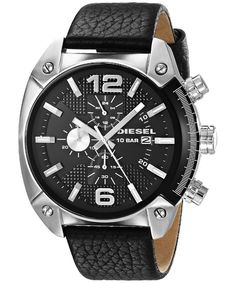 Shop for Diesel Men's Black Leather Quartz Watch. Get free delivery On EVERYTHING* Overstock - Your Online Watches Store! Black Leather Watch, Dark Brown Leather, Leather Men, Diesel Watches For Men, Online Watch Store, Gents Watches, Omega Seamaster, Watch Sale, Stainless Steel Watch