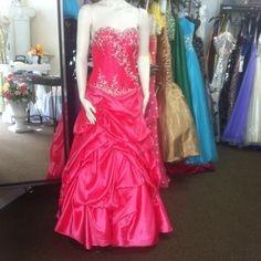 Ball gown Hot Pink prom Pageant Dress Size 8 Ball Gown. Has the skirting under tge dress. It's absolutely gorgeous! The 4th above picture shows how big it is on the model..(about an inch both sides) so I would say it is pretty close to true size. Dresses Prom