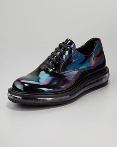 These are really cool,  Oil Slick Iridescent Lace-Up Shoe by Prada at Neiman Marcus.