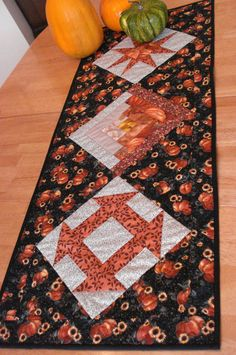 Quilted Tablerunner Pumpkin Harvest by NeedleLove2 on Etsy